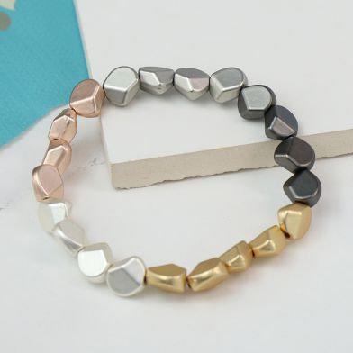 Mixed Metallic Multi Nugget Bracelet