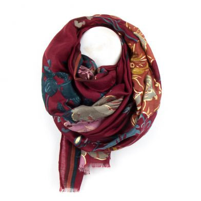 Red And Gold Floral Folk Print Scarf