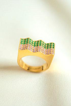 Onda Ring Pink-Green