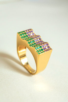 Onda Ring Green - Purple
