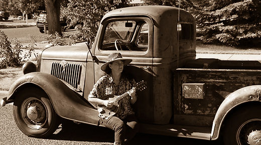 Tara Linhardt, mandolin, 1935 chevy truck, antique, old time