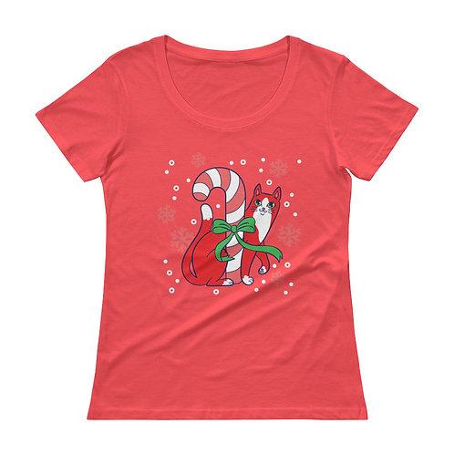 Pawpermint Kitty Ladies' Scoopneck T-Shirt