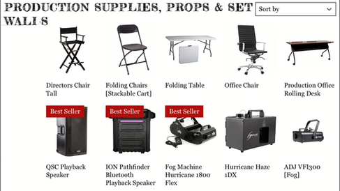 Production Supplies, Props & Set Walls