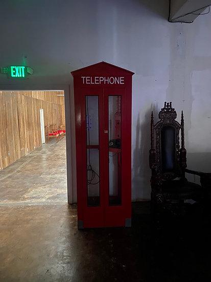Red British Telephone Booth Rental