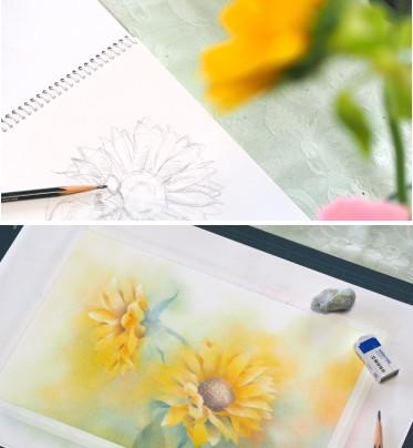 フラワーパステル画 杉本みのり 向日葵