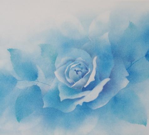 フラワーパステル画 杉本みのり 青い薔薇