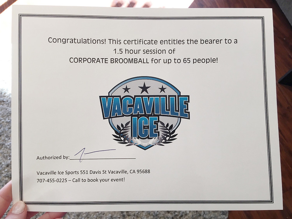 gift certificate for sale, vacaville ice plex