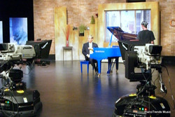 Danny Wright on the set of Chicagoing and the Blue piano
