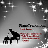 piano trends logo with stars gray music