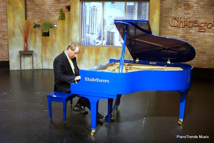 Danny Wright performing on Chicagoing on ABC 7 in with Bill Campbell and our Blue Grand Piano