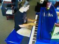 Lauren Ambrose on one of her visits to Piano Trends..