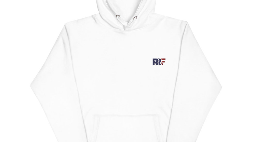 RRF - White Embroidered Unisex Hoodie