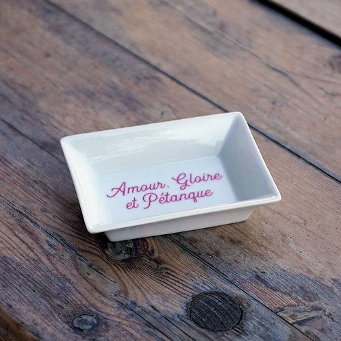 """Vide-poches porcelaine """"Amour, Gloire et Pétanque"""""""