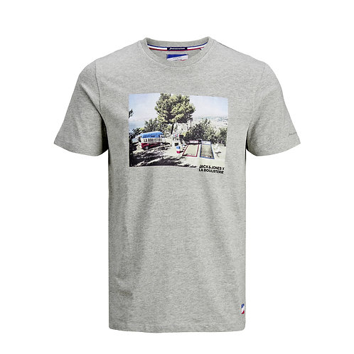 T-shirt Imprimé Photo Gris - Jack & Jones x La Boulisterie