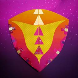 Wombyn Shields #7 series, 12x12, fabric