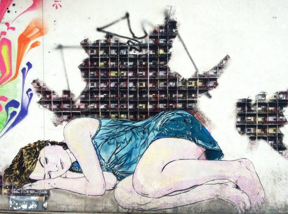 street art woman lying