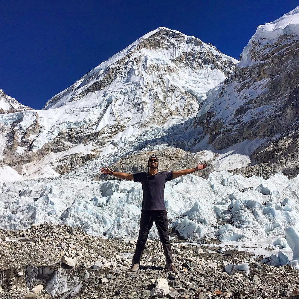 person, mountain