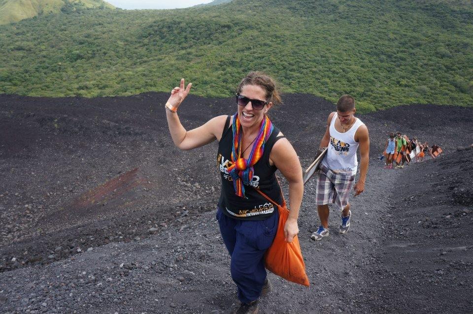 people climbing volcano