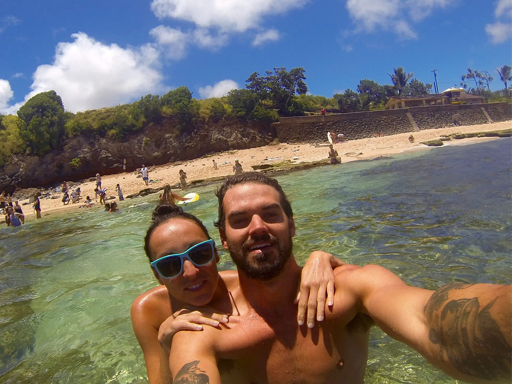 Lac and me in the water in Hawaii