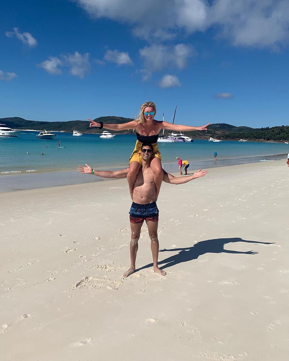 2 people, beach