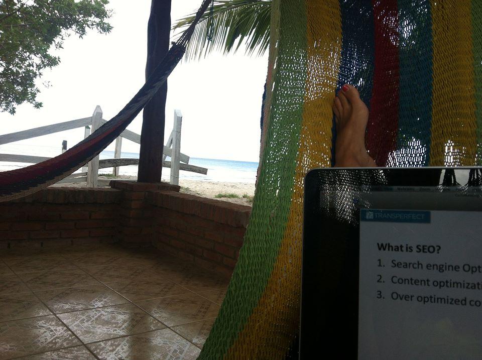 Working in a hammock