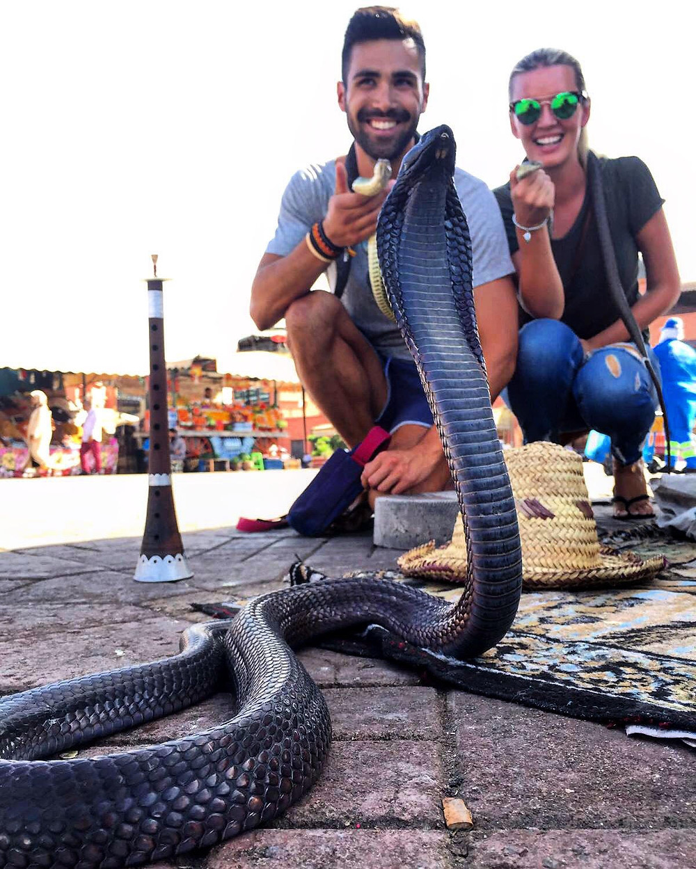 2 people, snakes