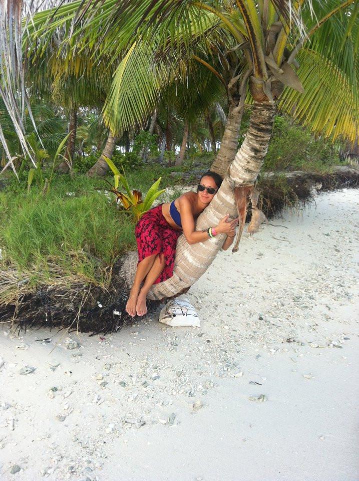 person, palm tree