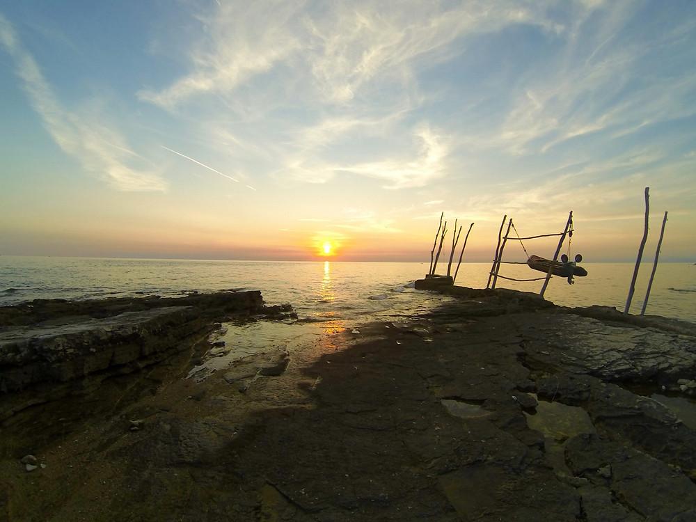 ocean boat sunset
