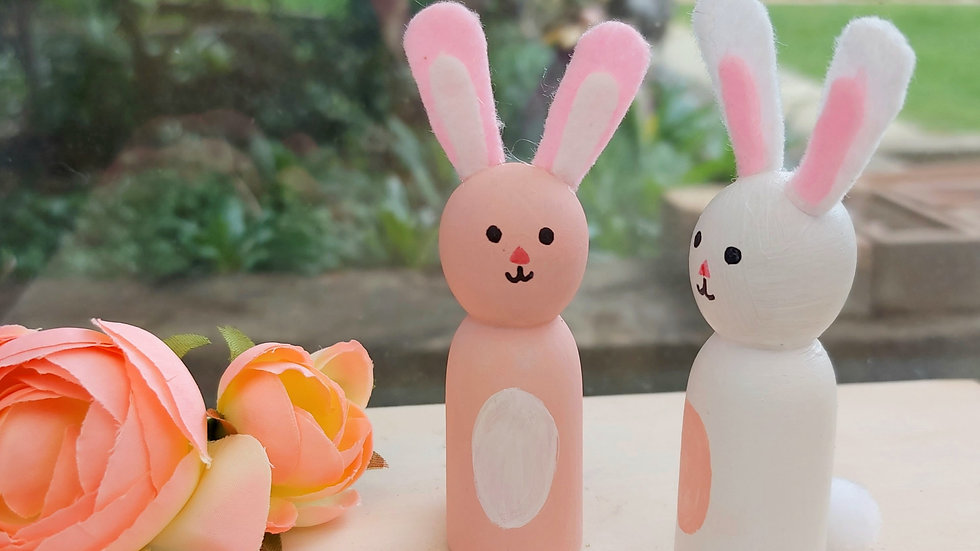 Wooden Painted Peg Doll Bunny