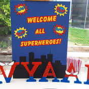 Freestanding letters and Welcome board