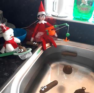 Elf on the Shelf and Poo fishing