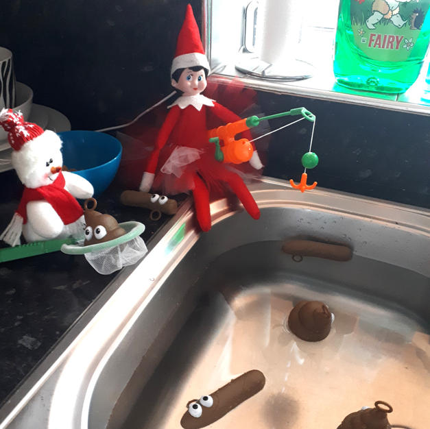 Elf on the Shelf and Poo fishing
