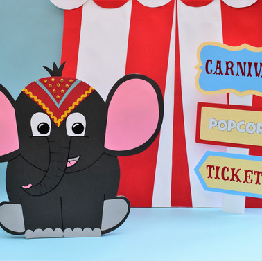 Cute Circus Elephant, Signpost and Tent