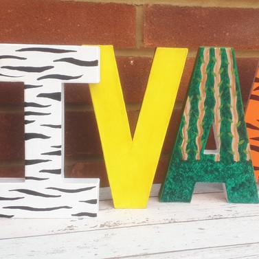 Paper mache painted letters