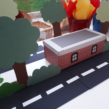 Road, Building and trees