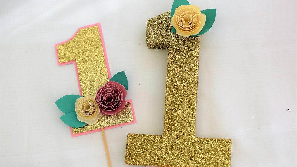 Gold glitter Cake Topper and Freestanding 1