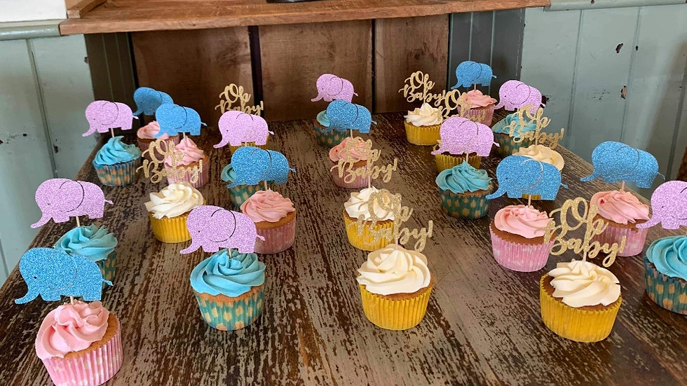 Baby Shower Elephant Cupcake toppers