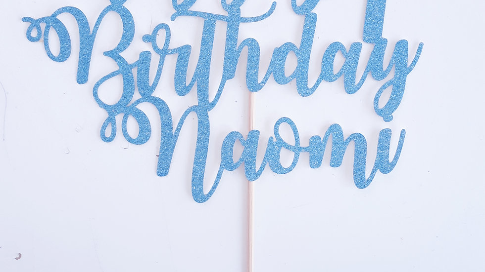 Personalised Glitter Card Cake toppers