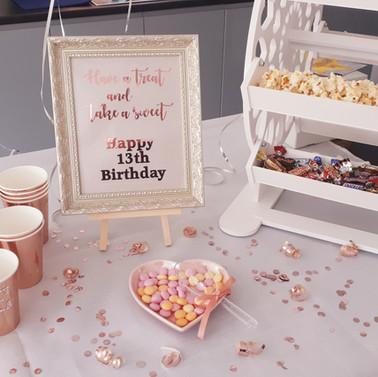 Rose Gold themed Sweet wheel set up