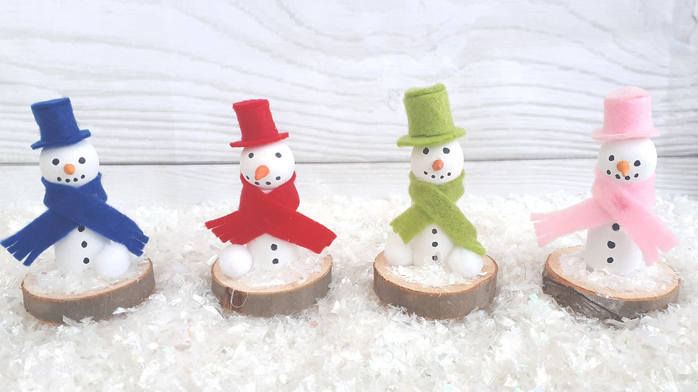 Handmade Wooden Snowmen Ornaments