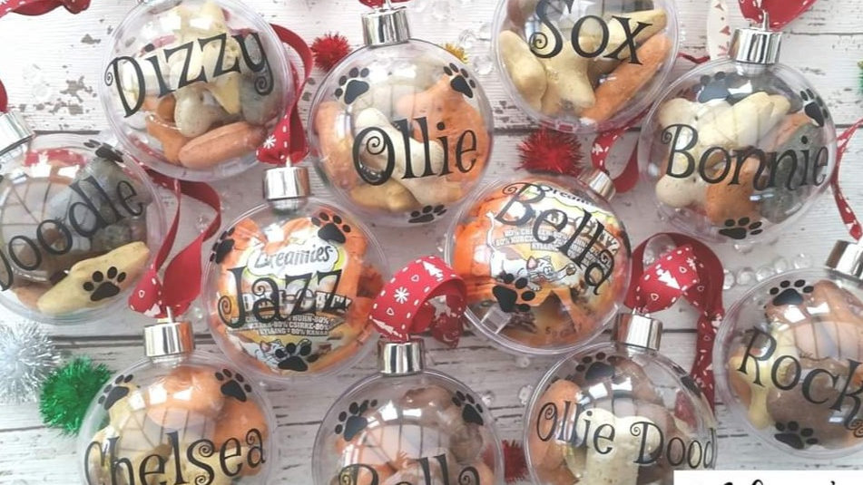 Personalised Pet Baubles Filled with biscuit treats