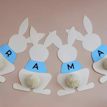 Bunny bunting with pompom tails