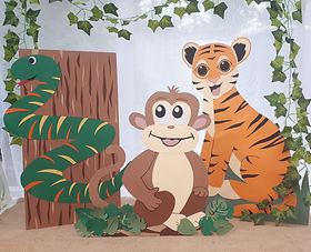 Jungle animals party props for hire