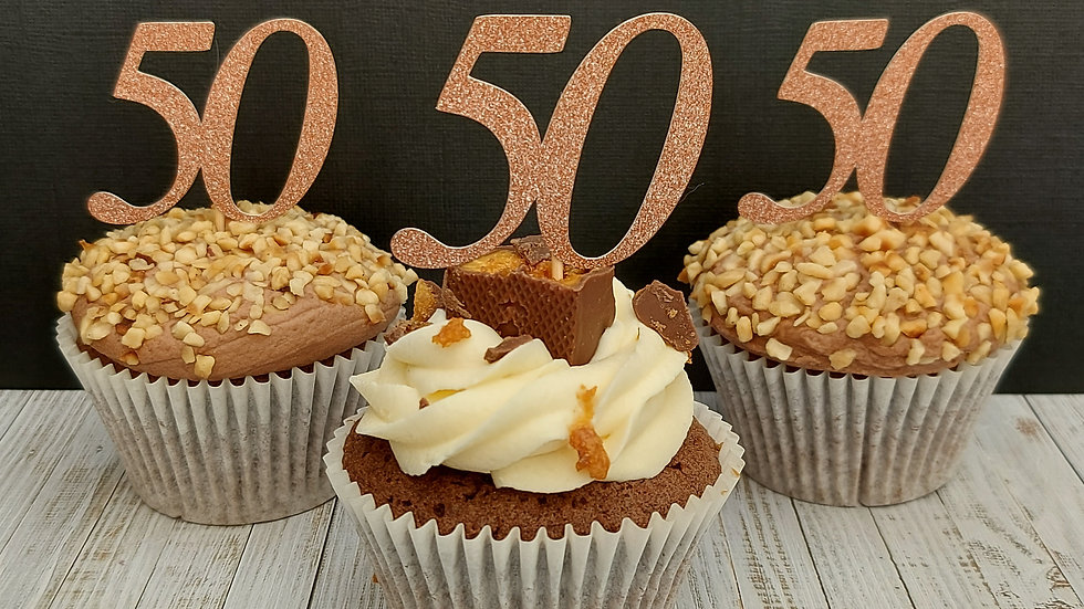 Cupcake Toppers Rose Gold glitter '50'