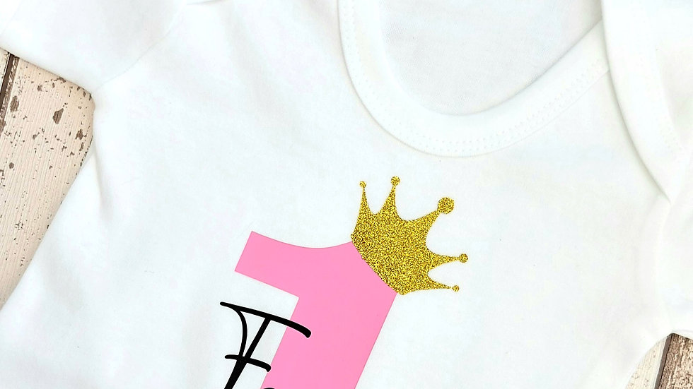 1st Birthday Baby vest - With Gold Crown