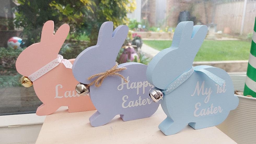 Wooden freestanding bunnies - Pastel Colours