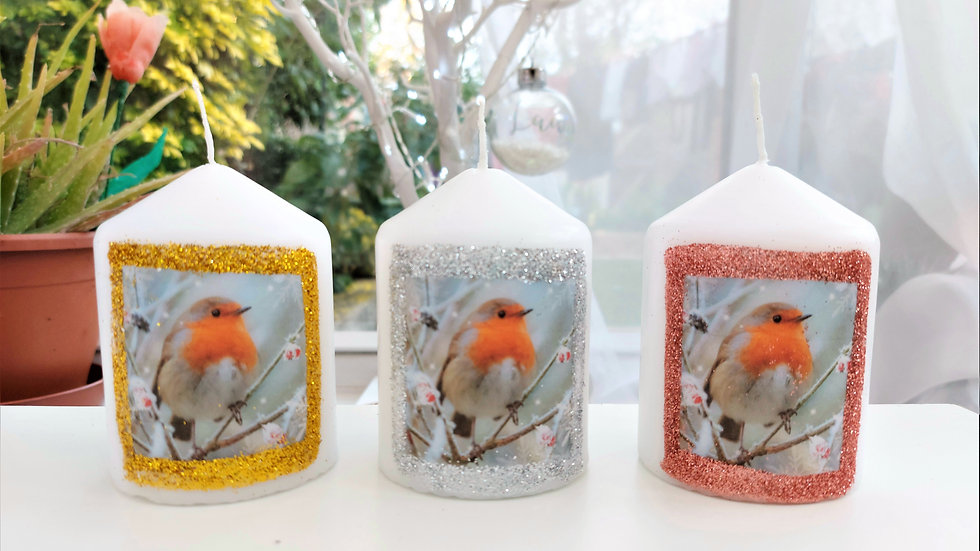 Winter Robin Candle