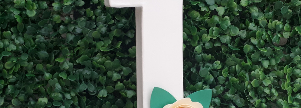 Freestanding number 1 with paper flowers