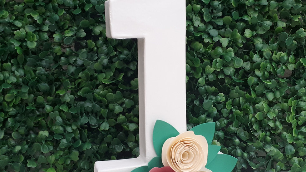 Freestanding Number with paper flowers