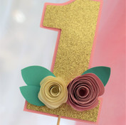Gold Glitter Cake topper with paper flowers